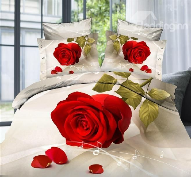 Lovely Big red rose Print 4 Piece Bedding Sets - beddinginn.com