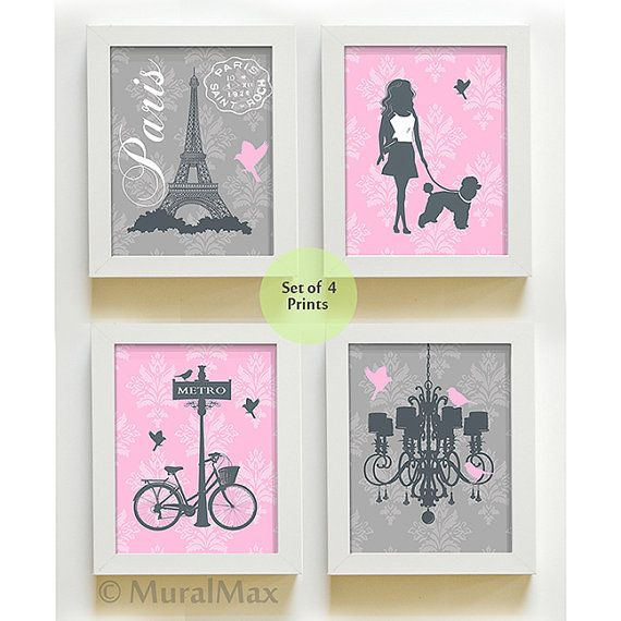 Girl Wall Art - Paris French Nursery Art , Set of 4 Prints - Paris Nursery, Girls room Decor, Chandelier, Eiffel Tower,Poodle