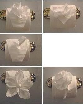 I think doing this in other peoples bathrooms would be hilarious :)   TOILET PAPER ORIGAMI