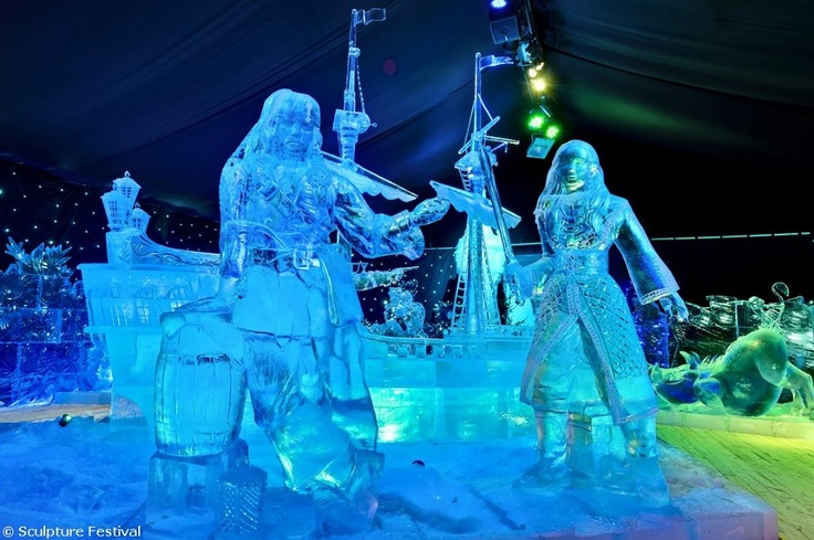 Ice Sculpture of Jack Sparrow and Elizabeth Swann in Brugge, Belgium