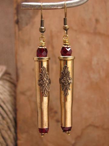 Straight Shooter 22 Hornet Brass w/Ruby Crystal Bullet Casing Earrings