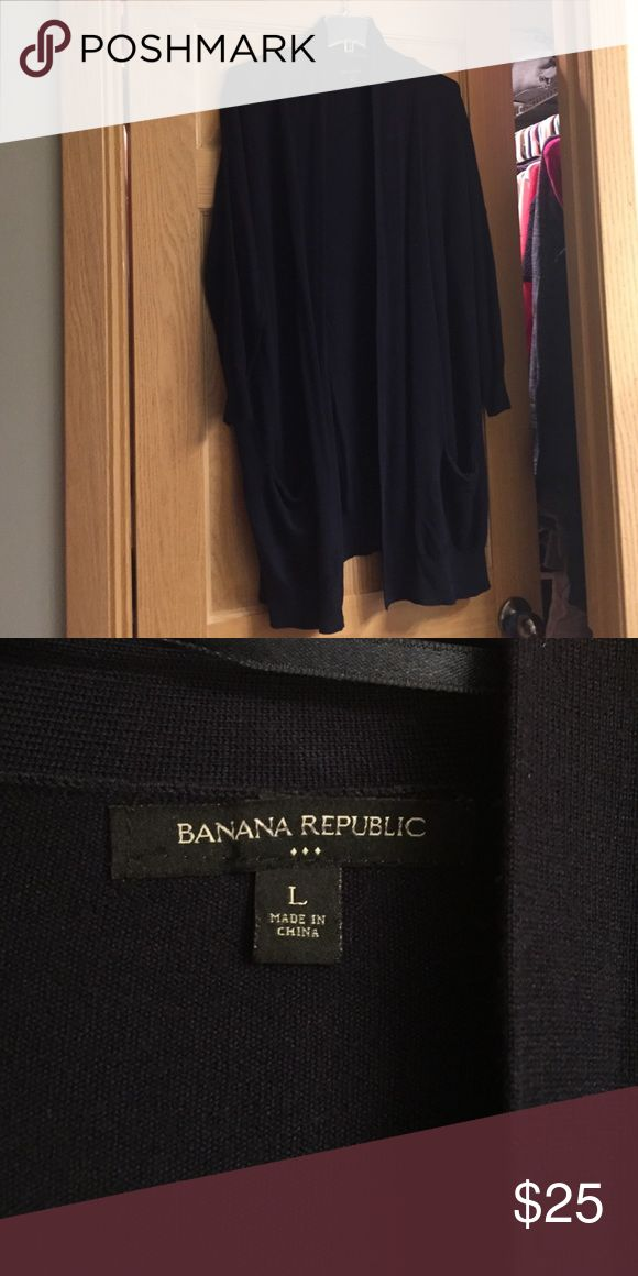 Banana republic dolman cardigan w/ pockets navy L A new without tags navy banana republic dolman open front cardigan. Size large. I should've bought a medium.  Perfect for layering with a T and leggings. Banana Republic Sweaters Cardigans