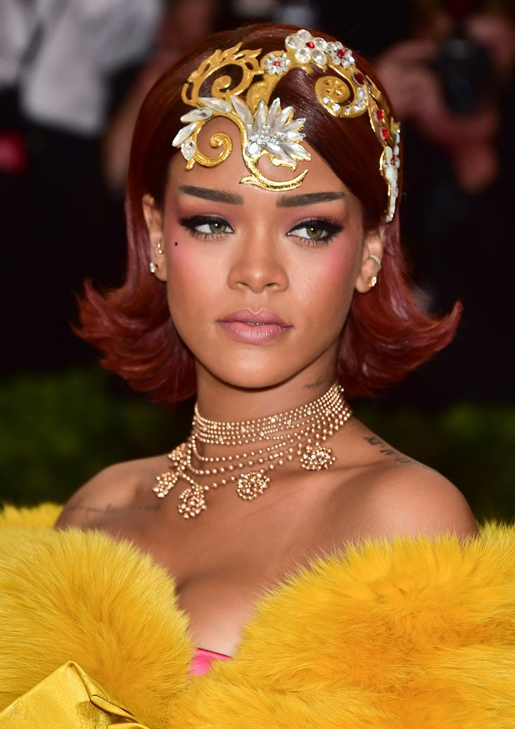 Beautiful at the Met Gala - Rihanna's Met Ball Beauty- Straight brows & fuchsia blush sculpts the face in a natural way sablebeauty.com