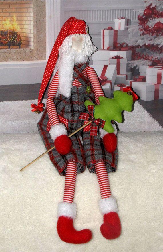Tilda doll Christmas Elf height 19.7 Handmade by LightDolls, $29.00
