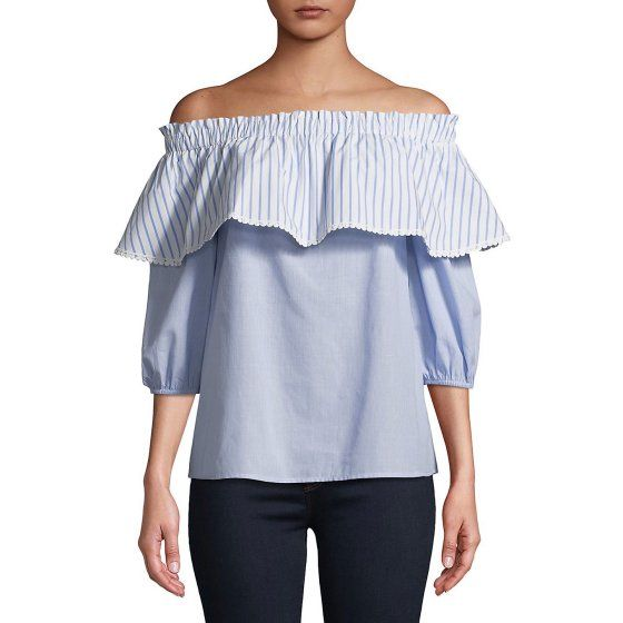 0b7f1bdf419 Striped Off-the-Shoulder Top - Walmart.com