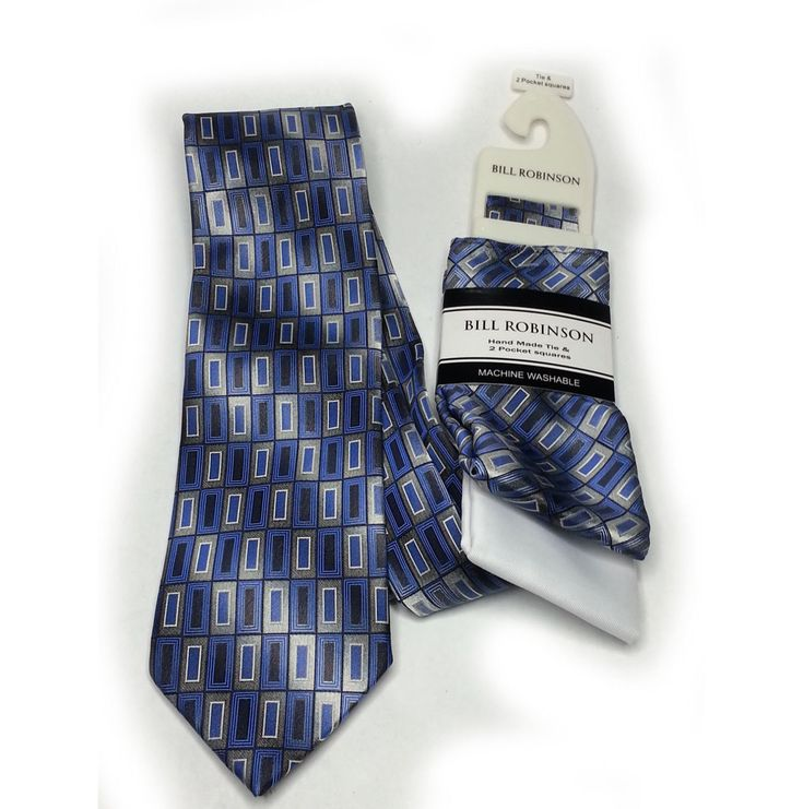 #ebay Bill Robinson Men Dress tie with 2 Pocket Sets NEW Blue with Print withing our EBAY store at  http://stores.ebay.com/esquirestore