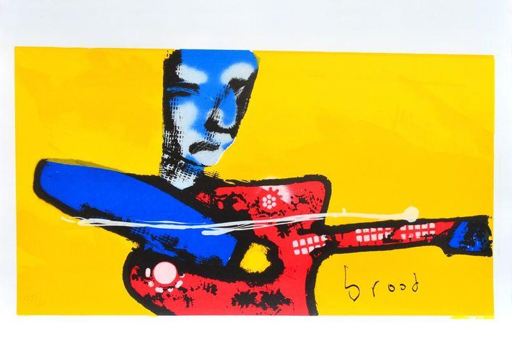 Dit is een: Zeefdruk hand gesigneerd, titel: 'My little Guitarman' kunstwerk vervaardigd door: Herman Brood