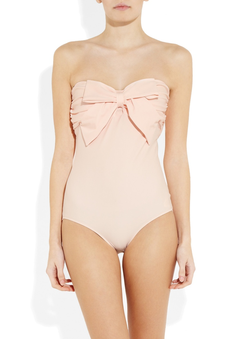 MIU MIU Bow-embellished bandeau one piece swimsuit