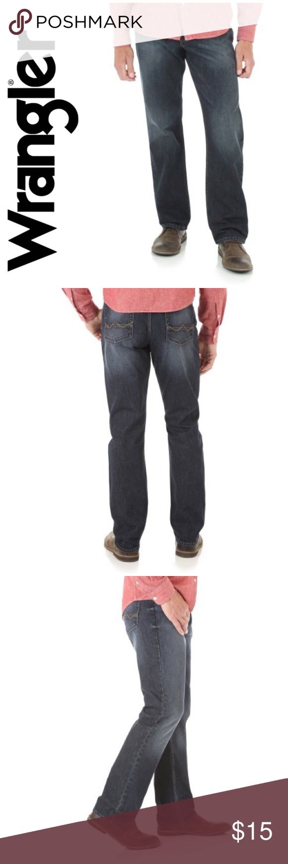Wrangler Men's Relaxed Straight Fit Jean Look stylish every day in these Wrangler Men's Relaxed Straight Fit Jeans. They are fashionable, comfortable and strong. The relaxed jeans come with five pockets, including ones on the hip that feature the signature W stitch. Made of 100% Cotton. Wrangler Jeans Straight