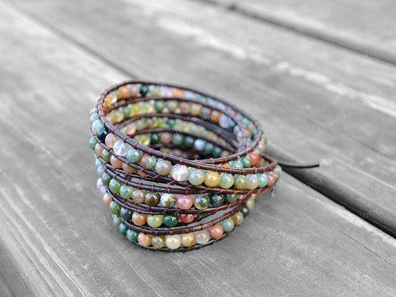 Leather Agate Bracelet Agate Wrap Bracelet Beaded by Colorwin