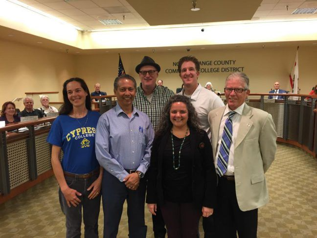 Cypress College's newly tenured faculty were honored by Trustees of the North Orange County Community College District on Tuesday, April 11. Pictured are: (front row, from left) Michelle Palmisano, Ed Valdez, Samantha Simmons, Cypress College President Dr. Bob Simpson, (back row, from left) Cypress College Academic Senate President Bryan Seiling, and Garet Hill.