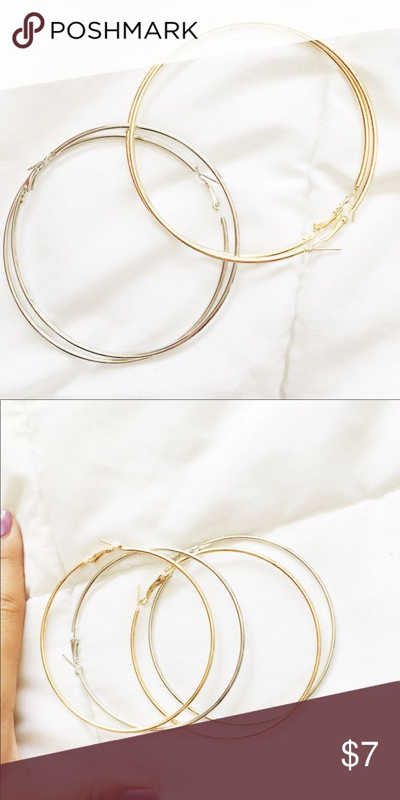 Hoop earrings bundle 🛍🎀 Bundle with some of my other items to save on price :)  CHEAPER ON DEPOP APP  Both are brand new and never worn/tried on.  One gold pair and one silver pair. Second picture shows size. NG for views. Nasty Gal Accessories