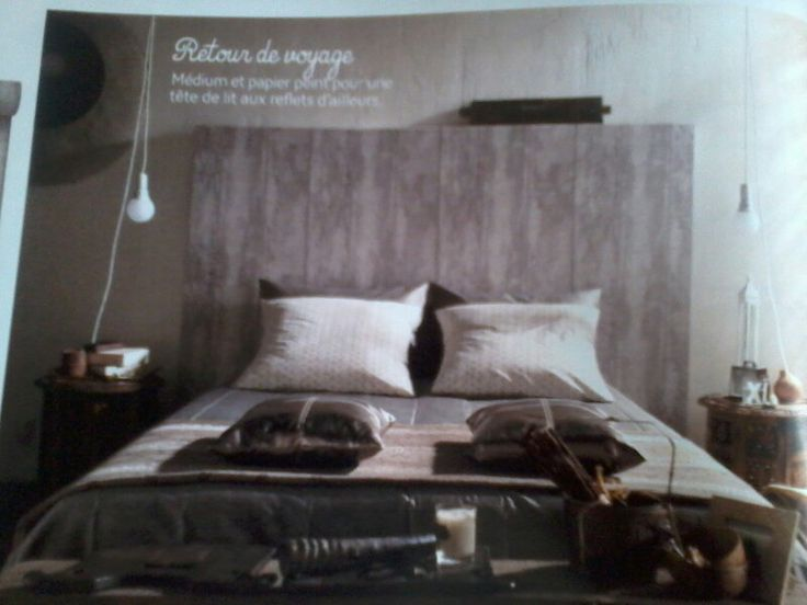tete de lit medium papier peint imitation bois id es d co pinterest. Black Bedroom Furniture Sets. Home Design Ideas