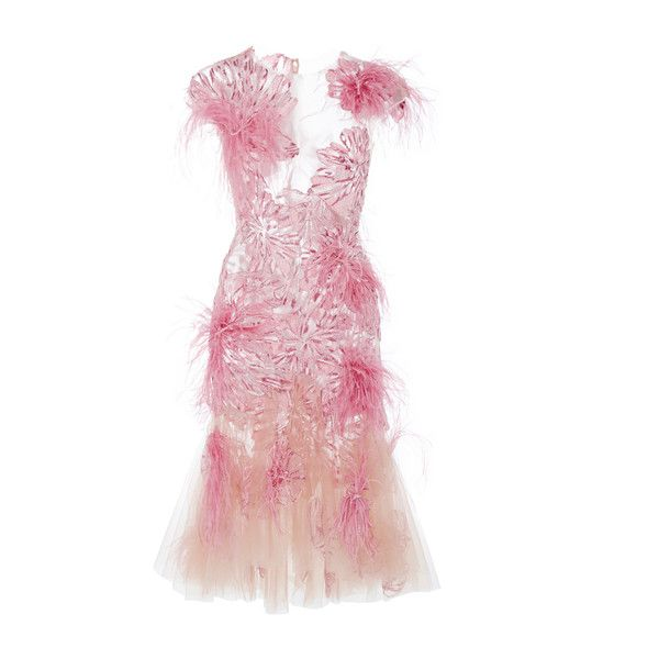 Marchesa Floral Feather Applique Cocktail Dress (26.465 DKK) ❤ liked on Polyvore featuring dresses, pink, fit and flare dress, v neck cocktail dress, floral fit-and-flare dresses, v neck dress and floral dresses