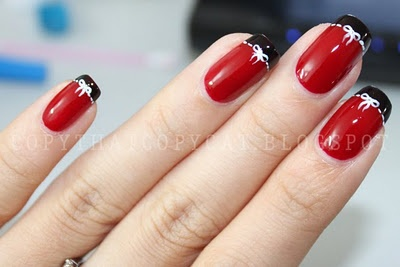 Red and black with petite white bows