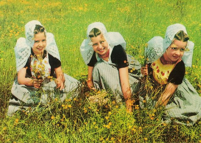 Girls in traditional costumes of Zeeland, Holland