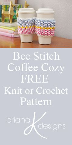 FREE Coffee Cozy pattern using Michael's Loops & Threads Colorwheel Yarn by Briana K Designs http://www.brianakdesigns.com/colorwheel-coffee-cozy/