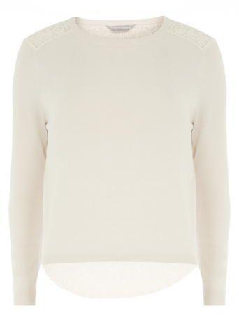 Petite blush lace back jumper