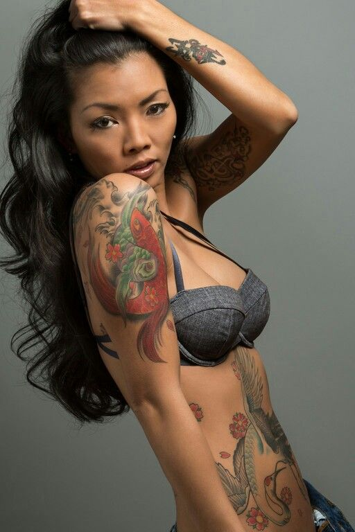 Asian gallery photo tattoo woman bent
