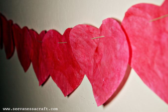 Valentine's Day Coffee Filter Heart Garland (great craft for kids!)