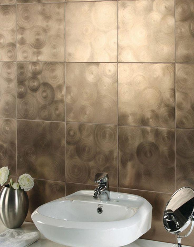 revêtement mural salle de bain à effet artistique bronze brossé