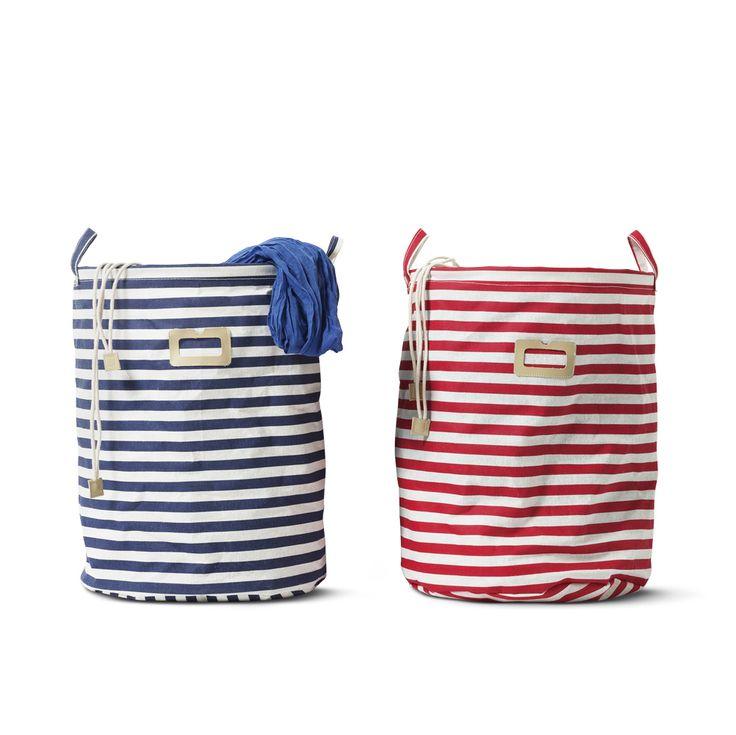 Kosze (33x42 cm) w stylu marynarskim na pranie #laundry #basket #kosz #marynarskistyl #paski #stripes