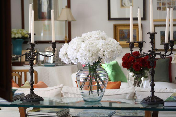 Hortensias artificiales blancas