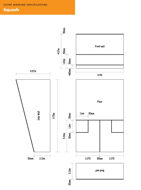 Standard measurements of a squash court squash courts Racquetball court diagram