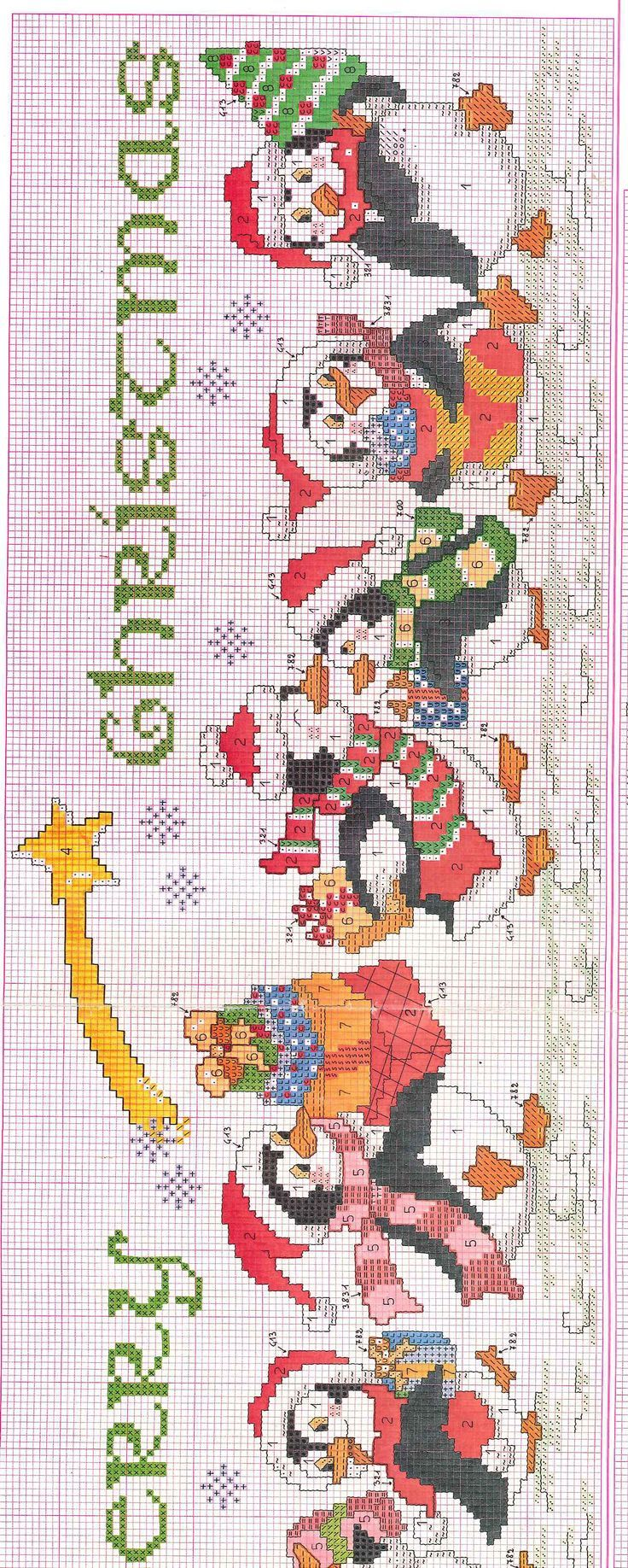 Cross-stitch Merry Christmas Penguins, part 2.. color chart on part 1...   pinned from  http://www.ioricamo.org/lavori-punto-croce/natale