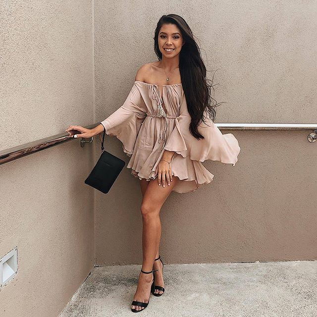 ☆ SPOTTED☆ @ashleighpaler wears ourMistwood Off The Shoulder Playsuit in BeigeShop her look online now! #PollyGalpollygal #PrincessPolly