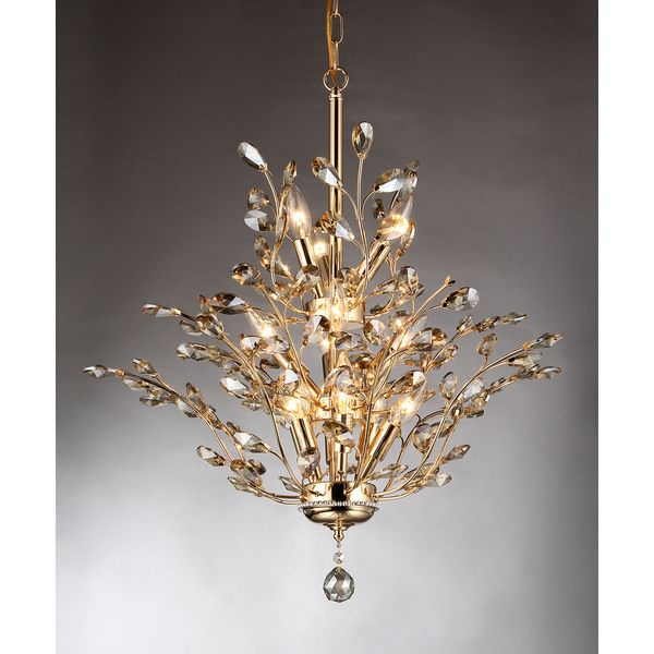 Gisell 13-light Golden Leaf-like Crystal Chandelier By