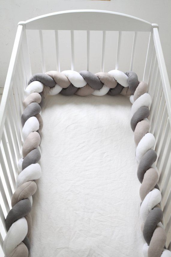 Braided crib bumper in mixed colours, natural linen | Deco ...