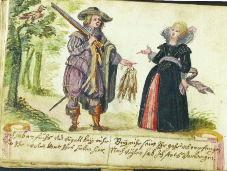 the same conversation painted in the album amicorum of  Johannes Hensel (1628), Det Kongelige Bibliotek, Copenhagen