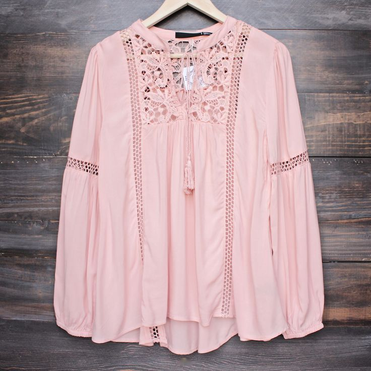 boho long sleeve peasant blouse with lace inset
