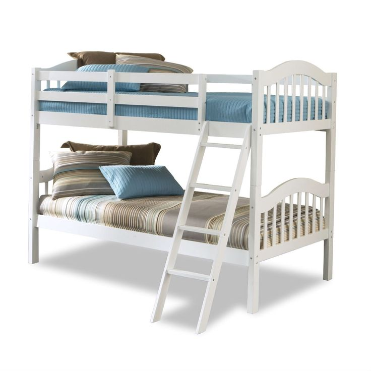 twin over twin size solid wood bunk bed in white finish cheap bunk bedstwin