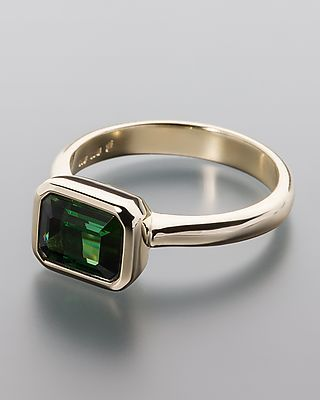 Gold ring with green AAA-Tourmaline