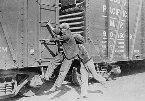 hobos on the trains during the While hobos were common, the number greatly increased during the great depression hobo's were commonly found around trains because they were a free source of transportation hopping trains was a free way for hobos to travel from city to city.
