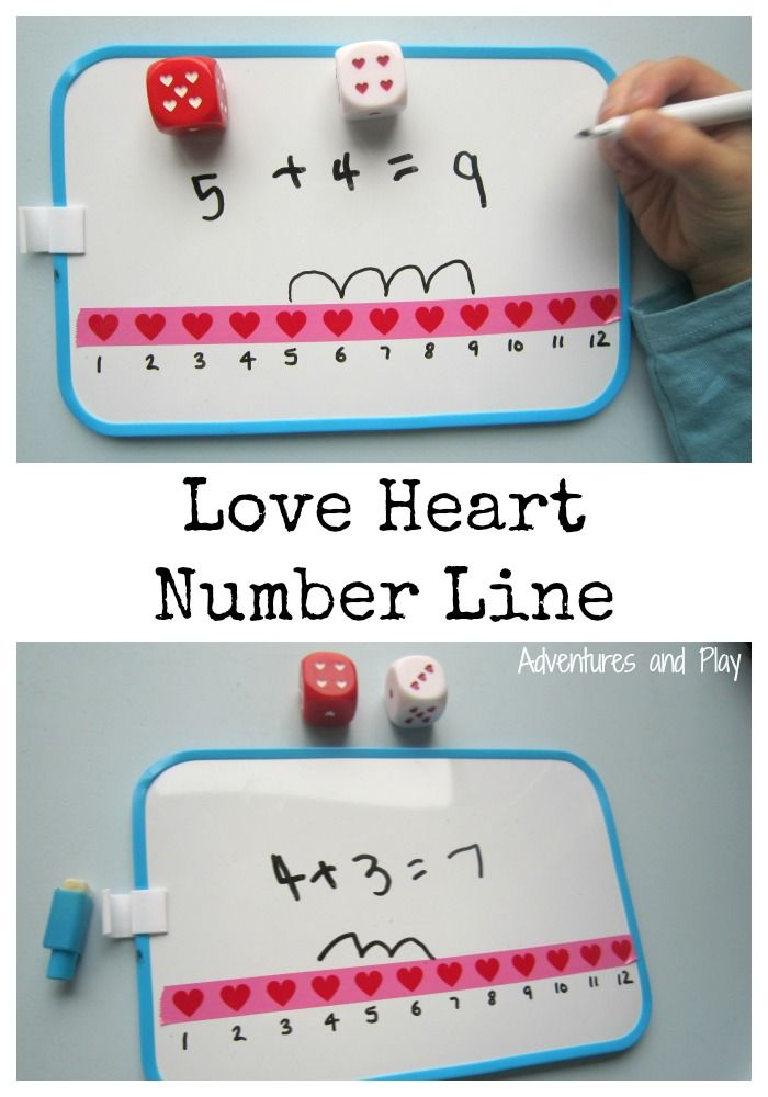 Love Heart Number Line Practice simple addition number sentences using love heart washi tape.