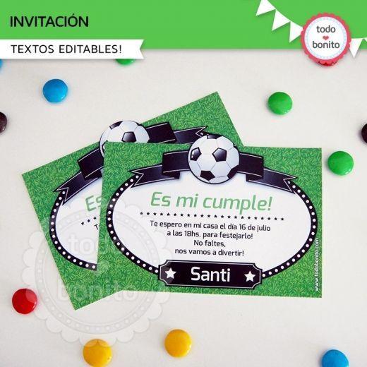 Tarjetas de invitación de cumpleaños motivo futbol - Imagui