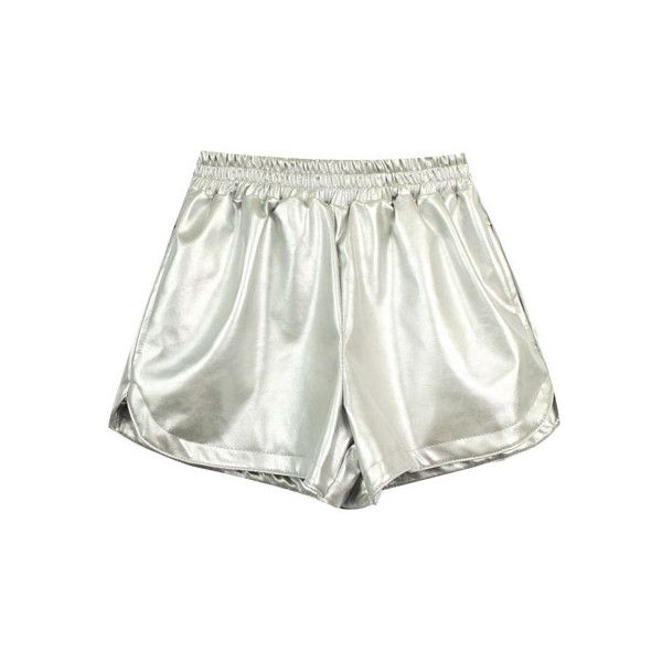 Double-layered Silver Fake Leather Shorts (€31) ❤ liked on Polyvore featuring shorts, bottoms, clothes - shorts, short, short shorts, vegan leather shorts, faux-leather shorts and silver shorts