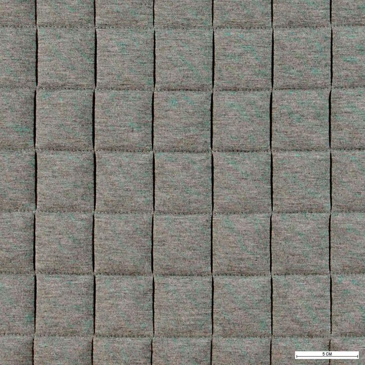 203518 Quiltet jersey grå melange m kvadrater
