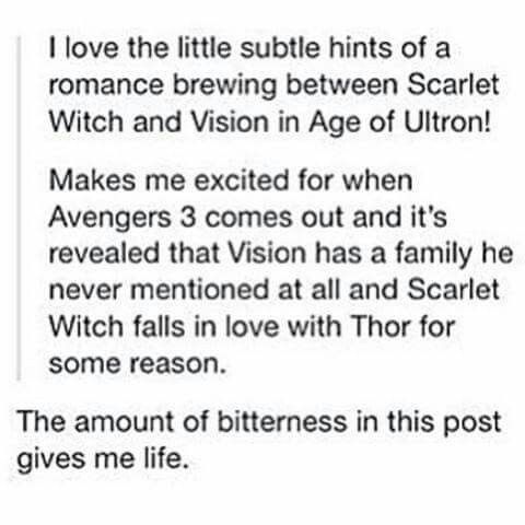 Haha even when its not about the horrible Bruce Banner / Natasha Romanoff random romance, it is.  Clintasha and Scarlet Witch / Vision funnies.