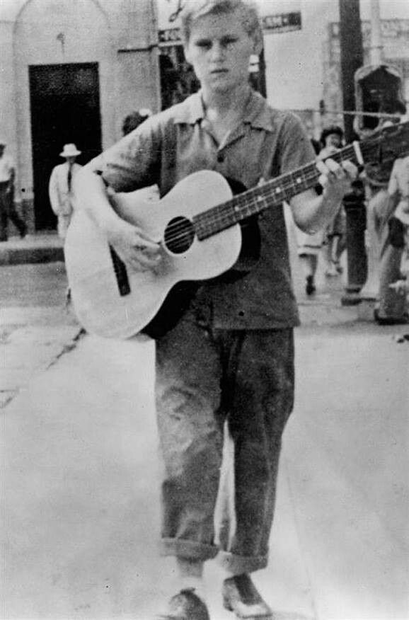 """""""1943"""" George Jones age 12. Singing on the streets of Beaumont,TX"""