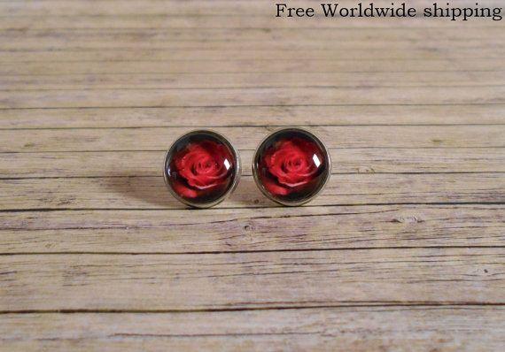 Red rose studs earrings  Dark red rose ear posts  by KrysDoings