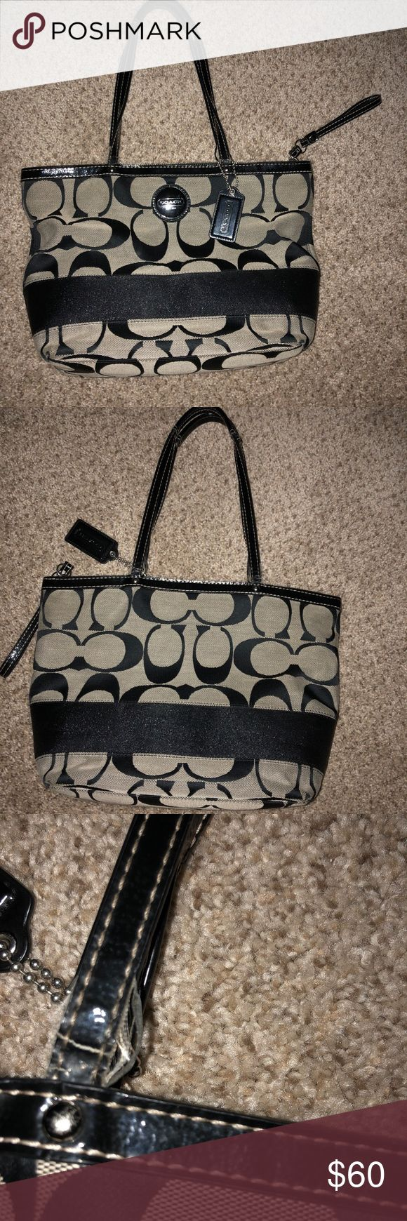 "Black Coach Purse Good condition Coach Purse. Has very little pulling on the handles (the strings) and I did not see any stains. The inside is good as well. It is 9 1/2"" long at the bottom and 13"" long at the top, 3 1/3"" wide and 9"" high (plus another 9"" for the strap). I will accept reasonable offers and I will consider trading. Coach Bags Shoulder Bags"