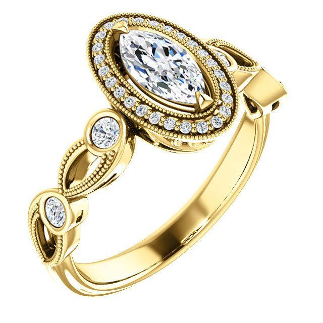 0.50 Ct Marquise Diamond Engagement Ring 14k Yellow Gold – Goldia.com