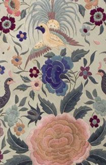 Chinese hand-embroidered silk shawl, c.1900-1920.