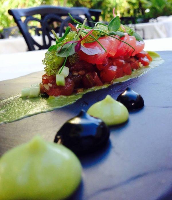 TUNA TARTAR AND SASHIMI, AVOCADO, WASABI, SQUID INK AIOLI - The ChefsTalk Project