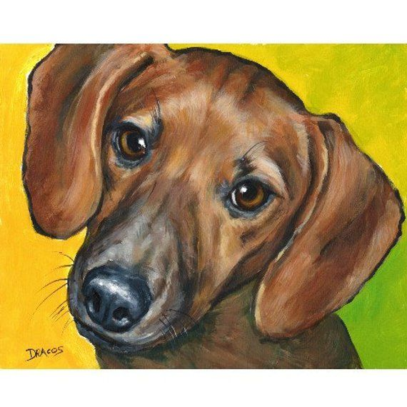 Dachshund Dog Art Print Of Original Painting By Dottie Dracos Red