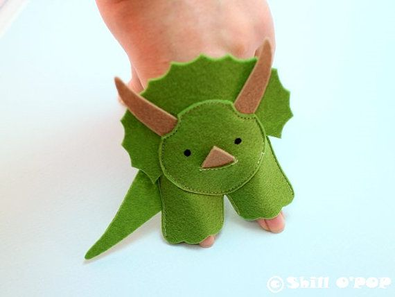 Dinosaurs Felt Finger Puppet PDF Pattern by ShillOPOP on Etsy